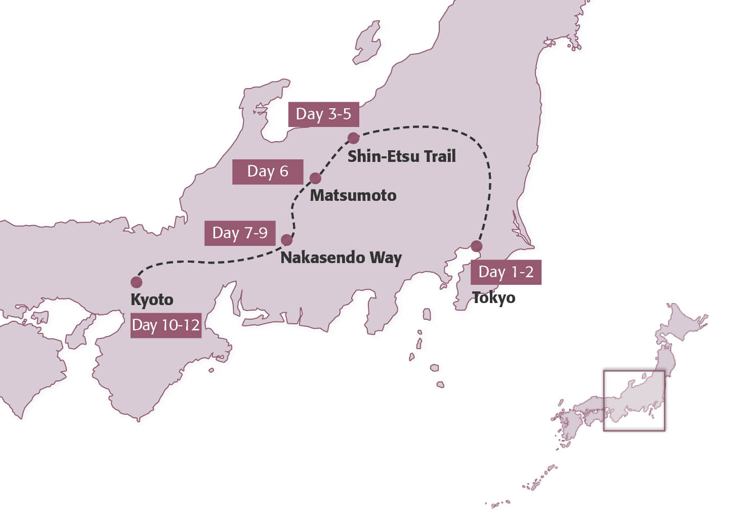 Map for Walking the Nakasendo & Beyond