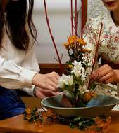 Ikebana flower arranging